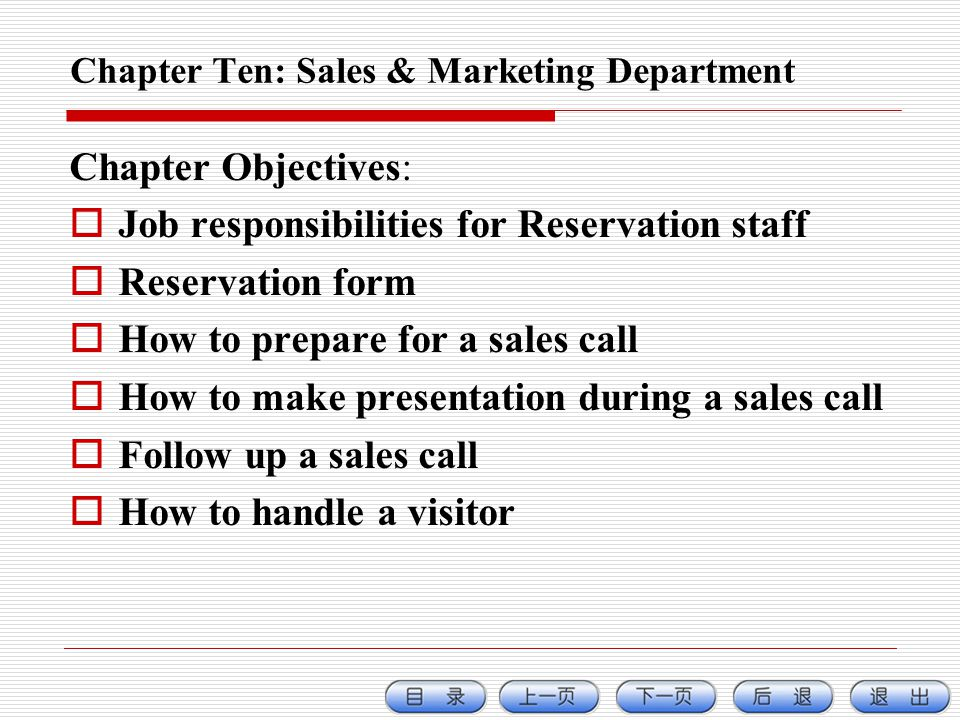 Chapter Ten: Sales & Marketing Department
