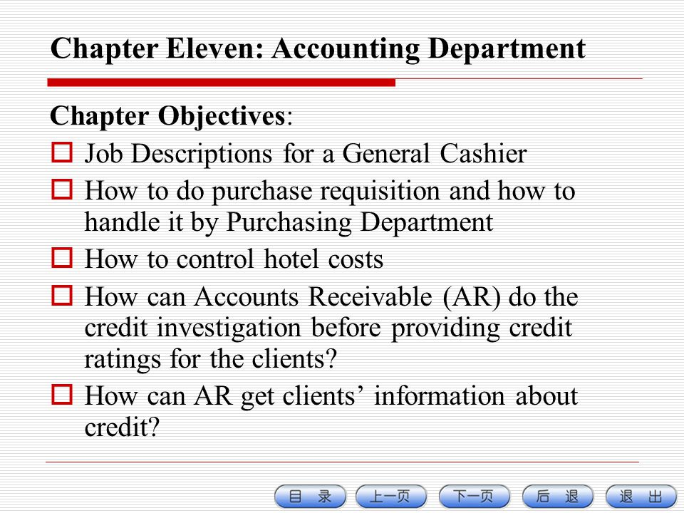 Chapter Eleven: Accounting Department