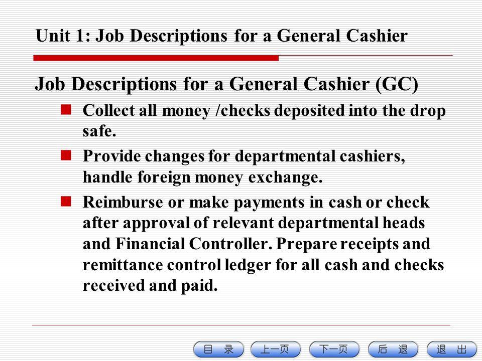 Unit 1: Job Descriptions for a General Cashier