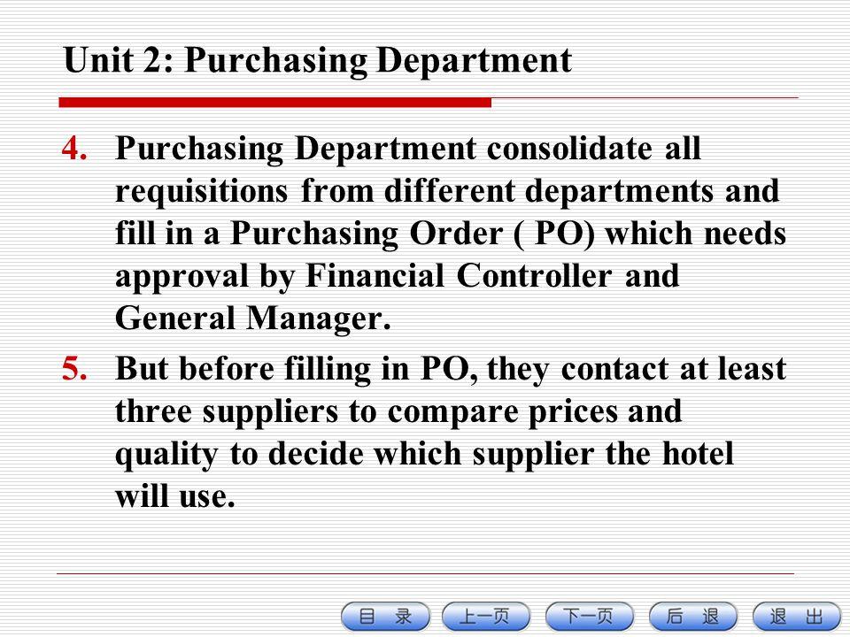 Unit 2: Purchasing Department