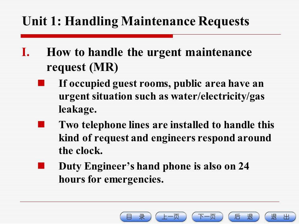 Unit 1: Handling Maintenance Requests