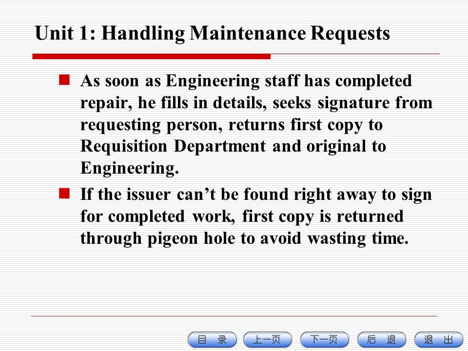 Unit 1: Handling Maintenance Requests