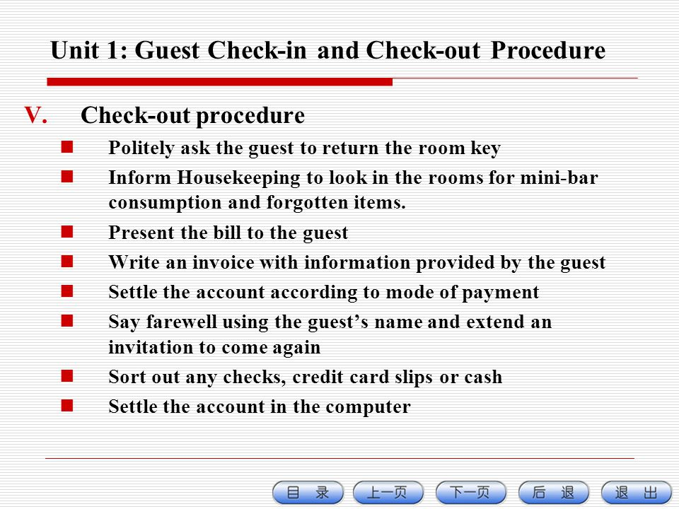 Unit 1: Guest Check-in and Check-out Procedure