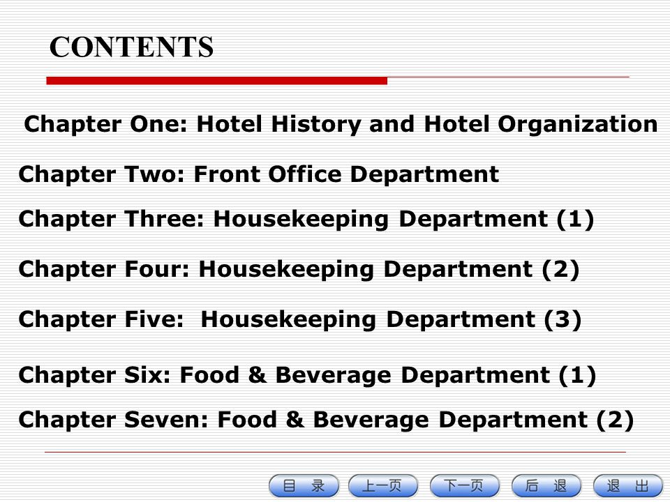 CONTENTS Chapter One: Hotel History and Hotel Organization