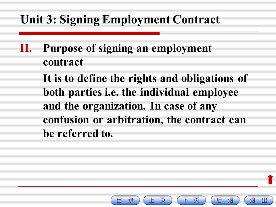 Unit 3: Signing Employment Contract