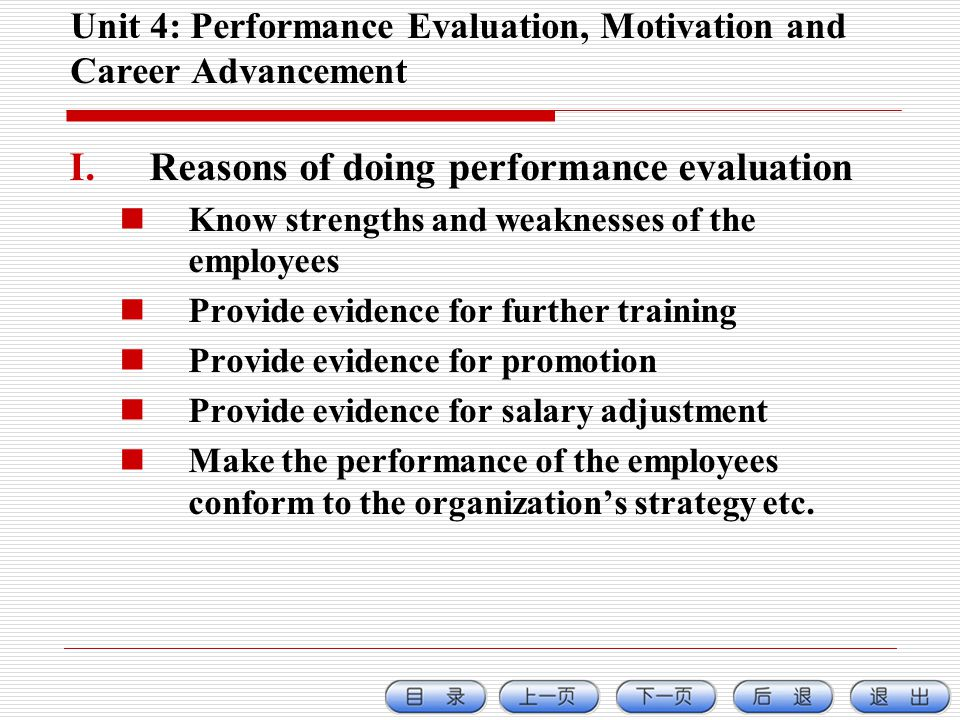 Unit 4: Performance Evaluation, Motivation and Career Advancement