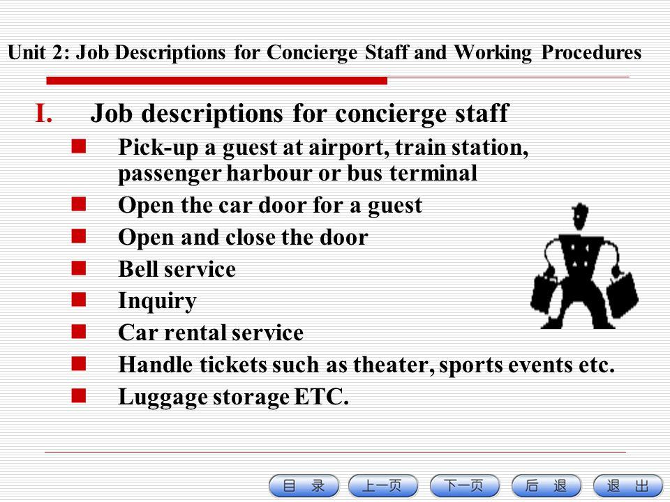 Unit 2: Job Descriptions for Concierge Staff and Working Procedures