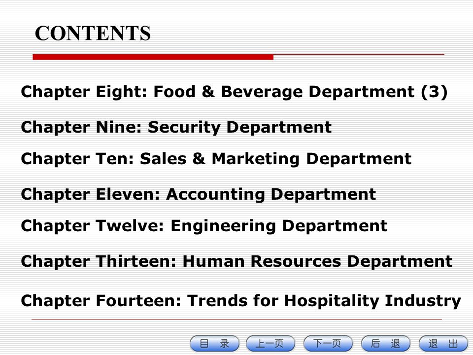 CONTENTS Chapter Eight: Food & Beverage Department (3)