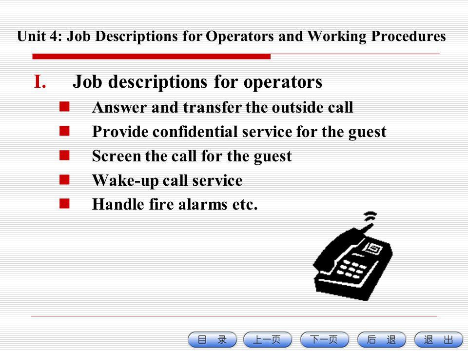 Unit 4: Job Descriptions for Operators and Working Procedures