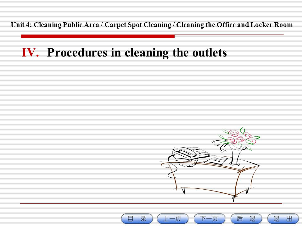Procedures in cleaning the outlets