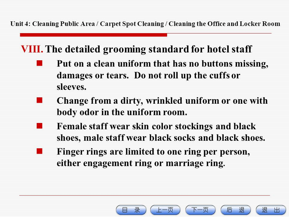 The detailed grooming standard for hotel staff
