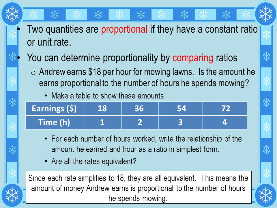 You can determine proportionality by comparing ratios