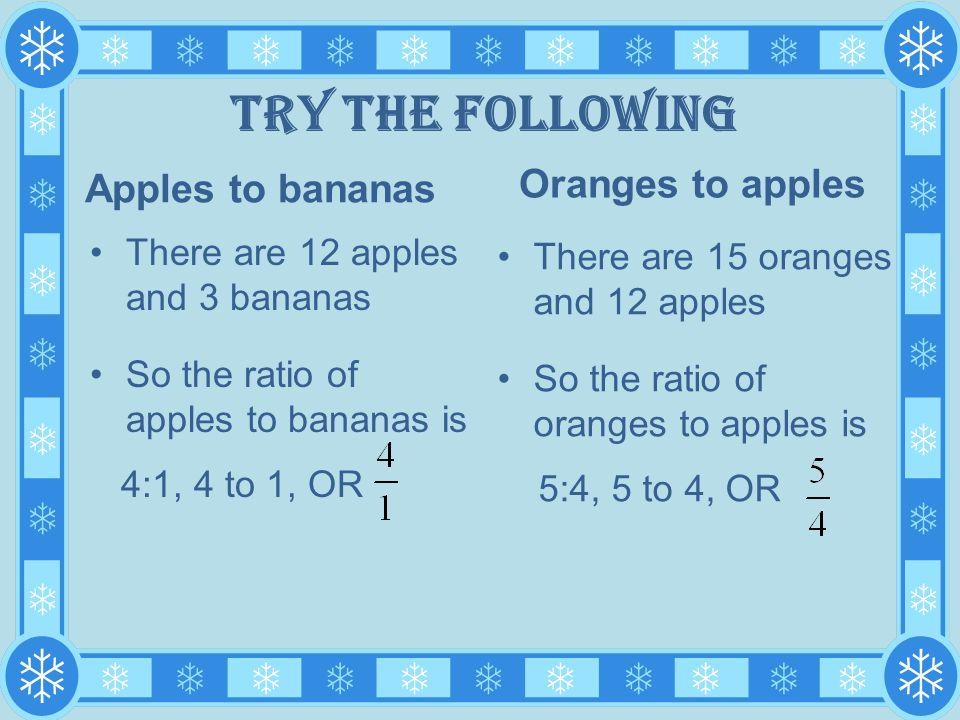 Try the following Oranges to apples Apples to bananas