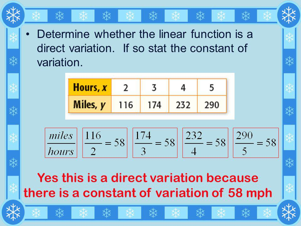 Determine whether the linear function is a direct variation