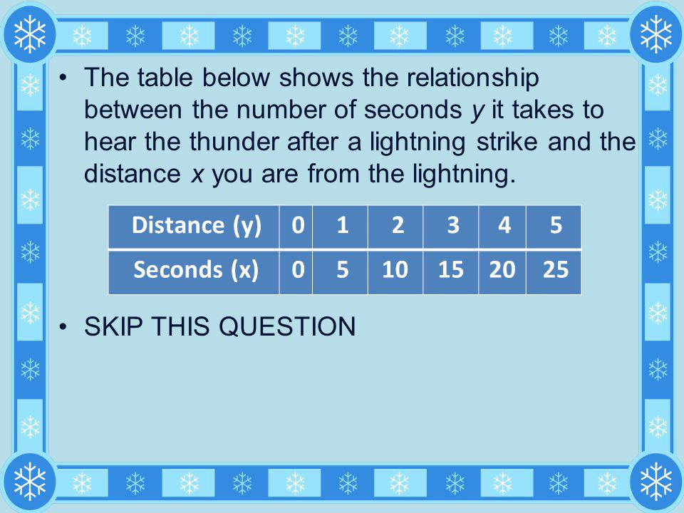 The table below shows the relationship between the number of seconds y it takes to hear the thunder after a lightning strike and the distance x you are from the lightning.