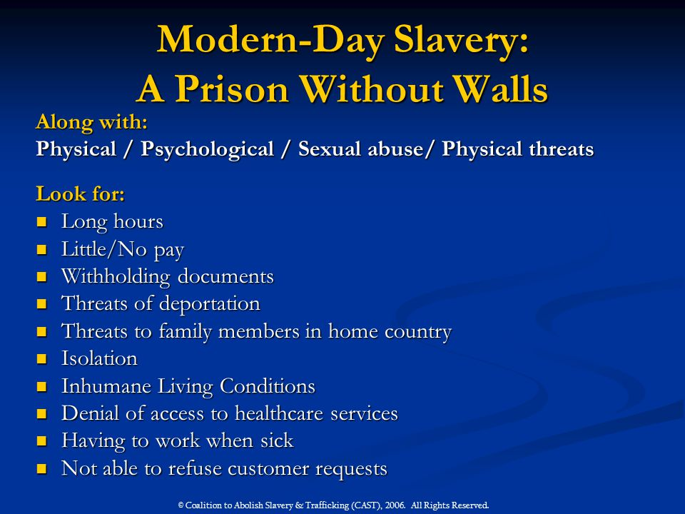 Modern-Day Slavery: A Prison Without Walls