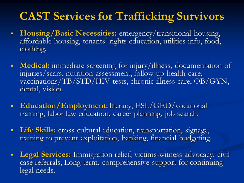CAST Services for Trafficking Survivors