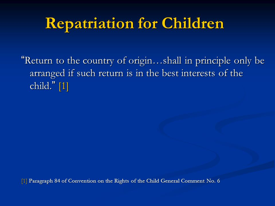 Repatriation for Children