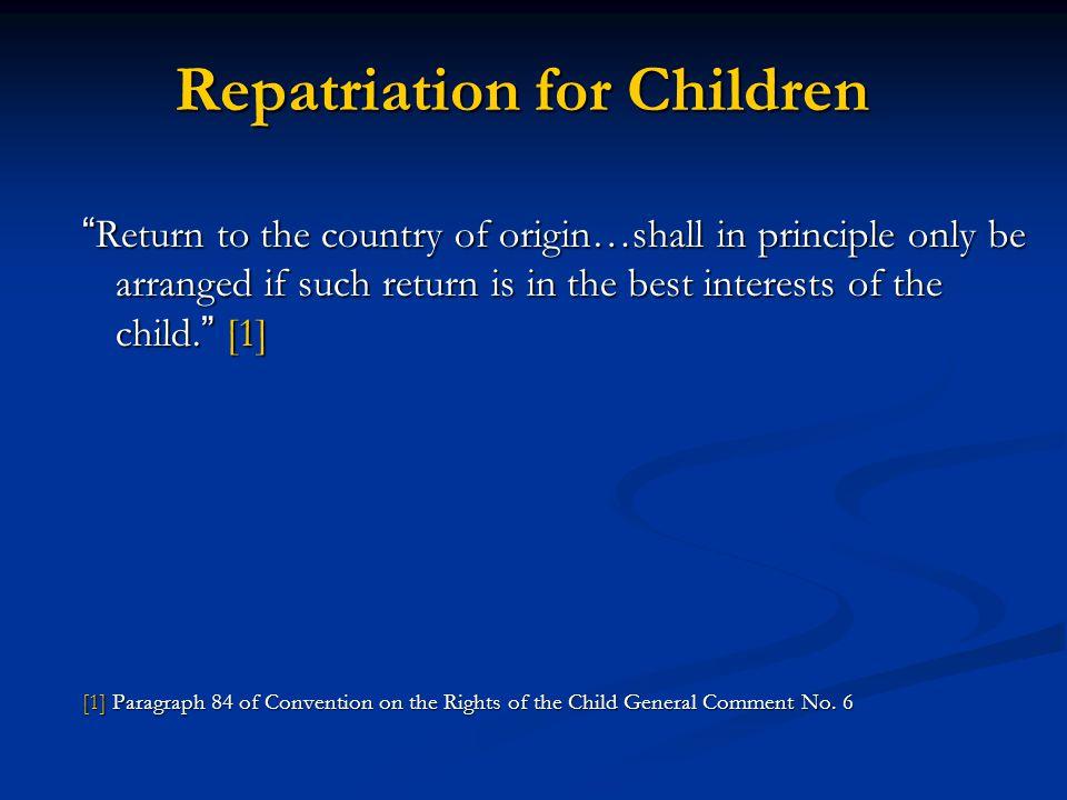 Repatriation for Children