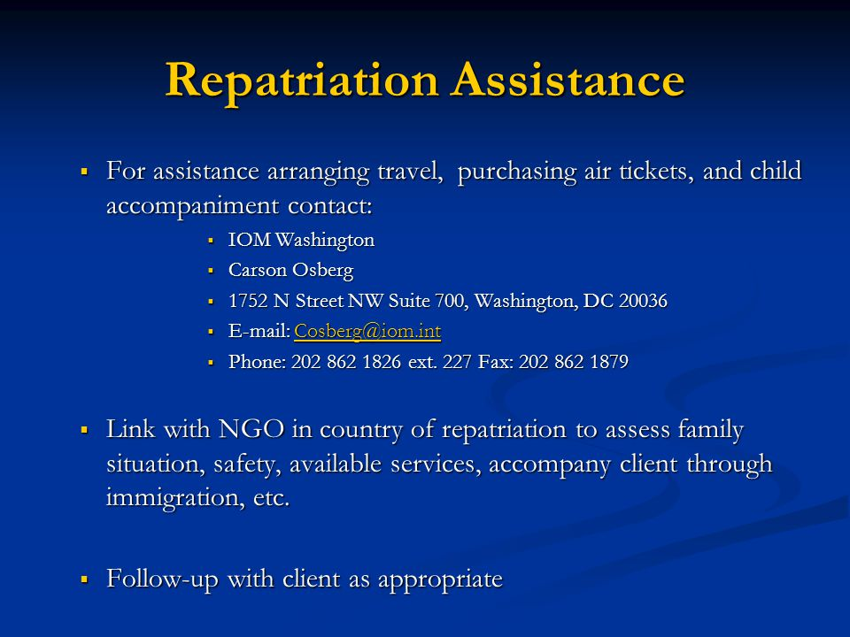 Repatriation Assistance