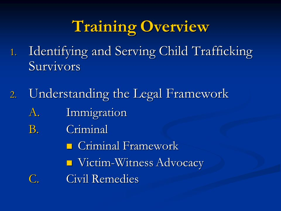 Training Overview Identifying and Serving Child Trafficking Survivors