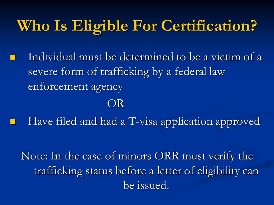 Who Is Eligible For Certification
