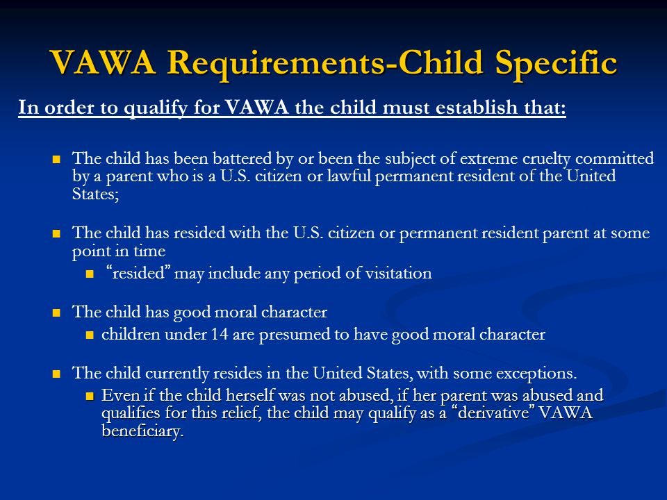 VAWA Requirements-Child Specific