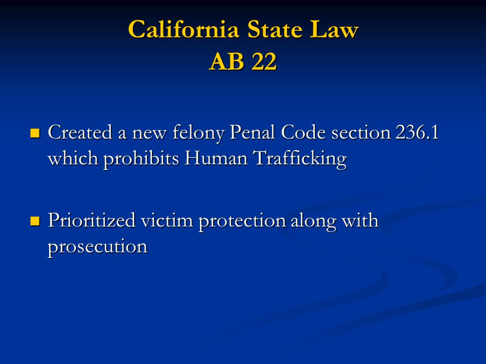 California State Law AB 22