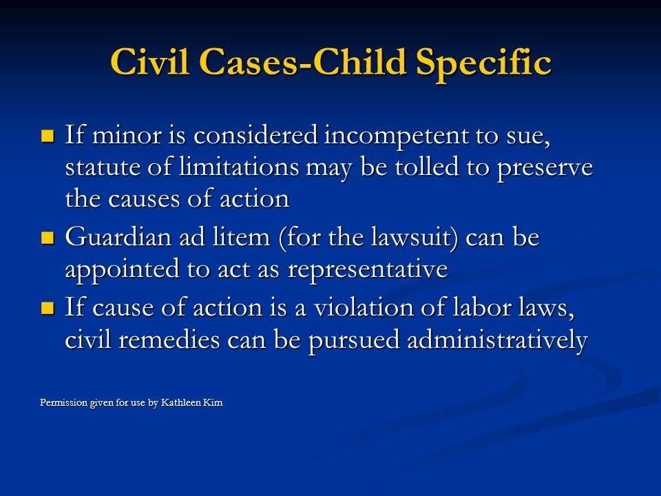 Civil Cases-Child Specific