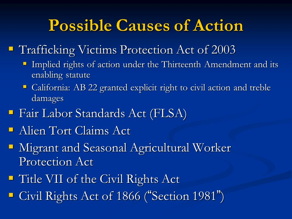 Possible Causes of Action