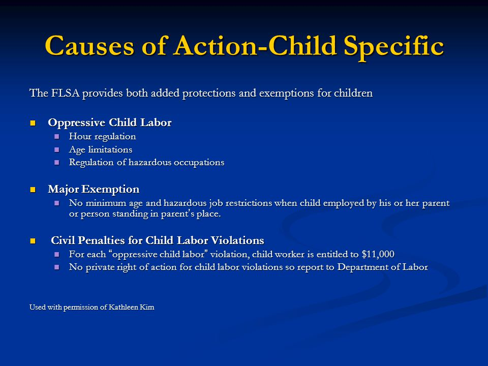 Causes of Action-Child Specific