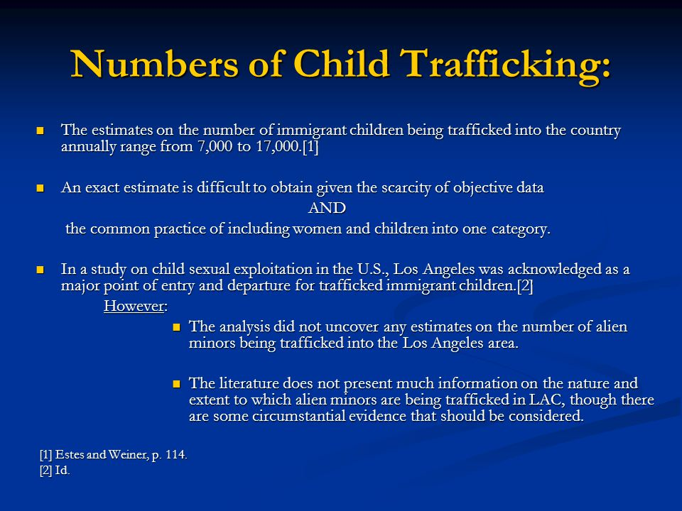 Numbers of Child Trafficking: