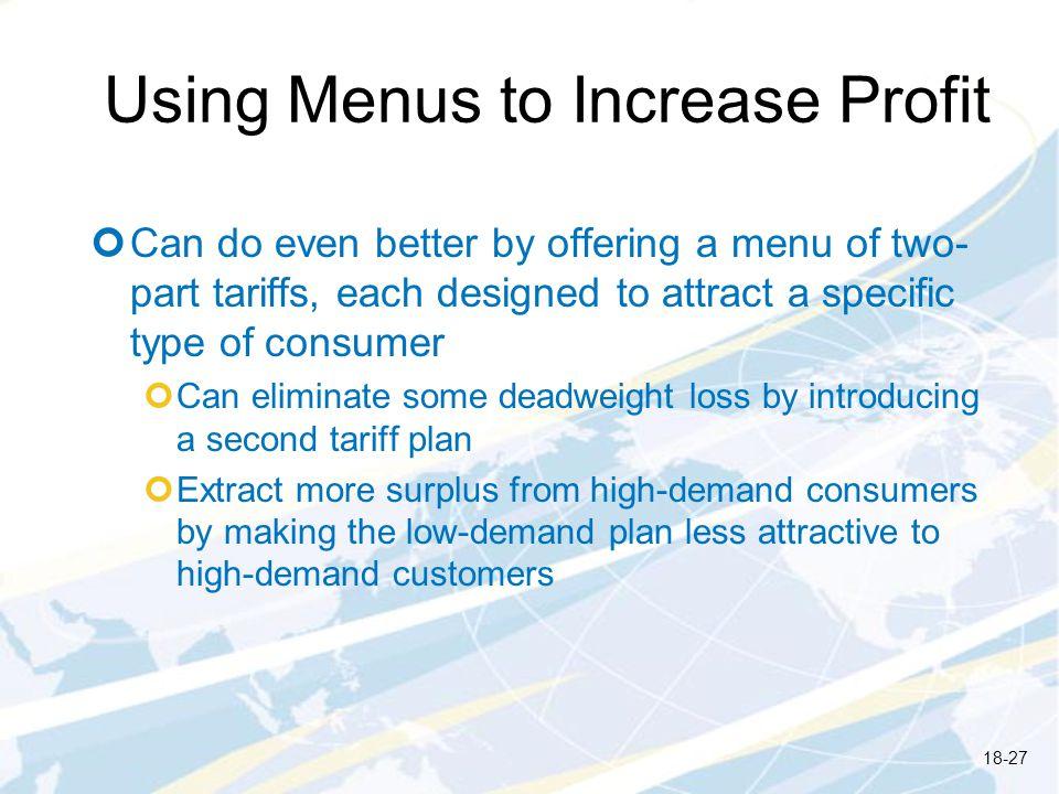 Using Menus to Increase Profit