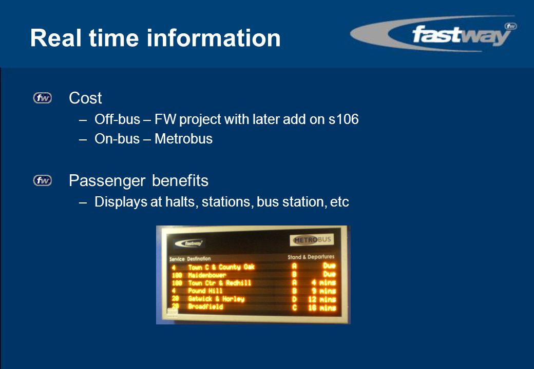Real time information Cost Passenger benefits