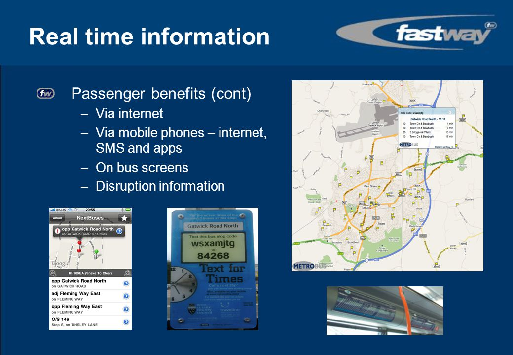 Real time information Passenger benefits (cont) Via internet