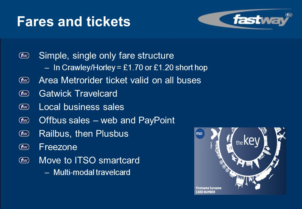 Fares and tickets Simple, single only fare structure