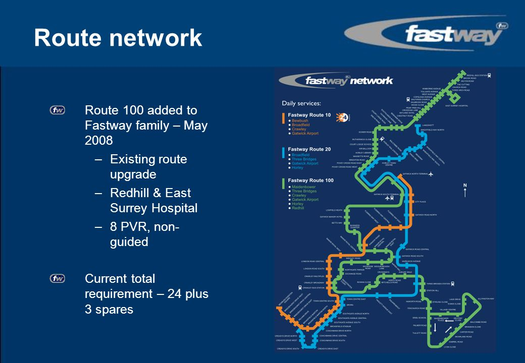 Route network Route 100 added to Fastway family – May 2008