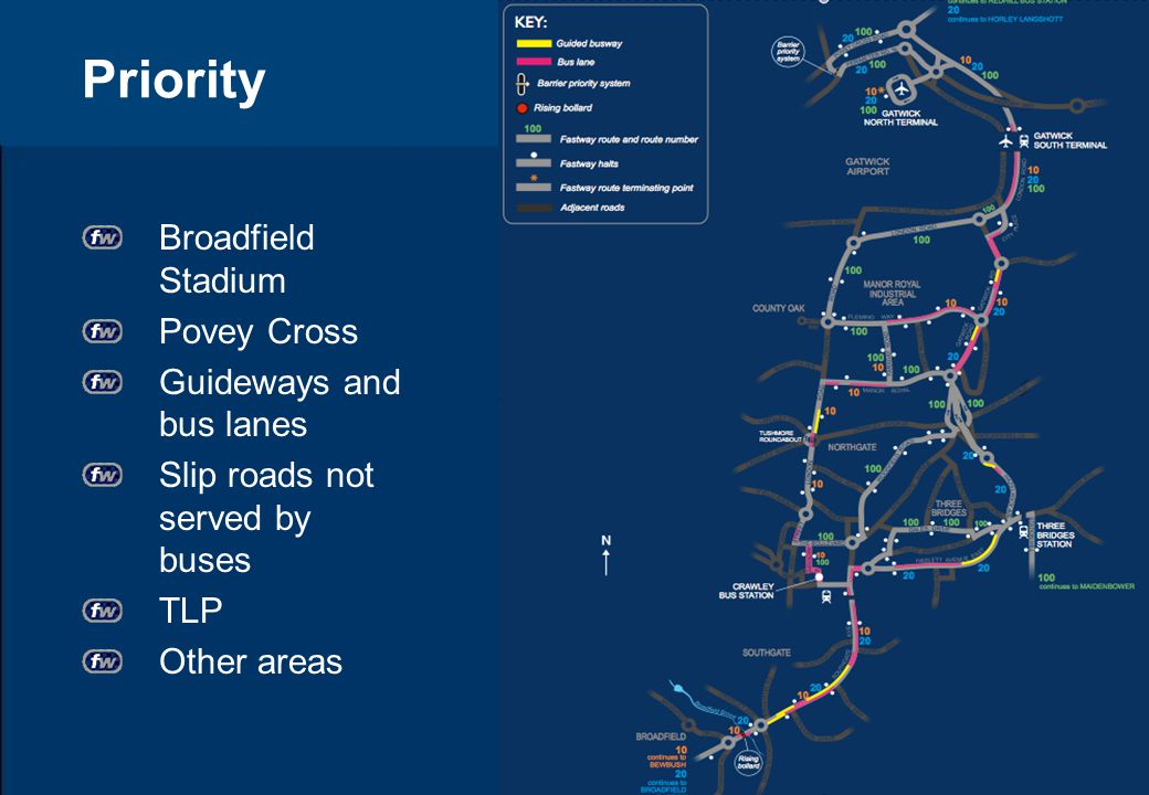 Priority Broadfield Stadium Povey Cross Guideways and bus lanes