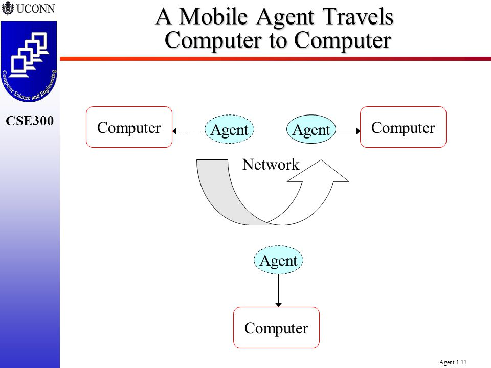A Mobile Agent Travels Computer to Computer
