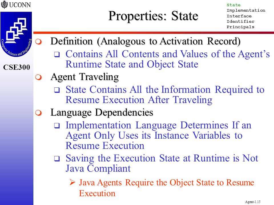 Properties: State Definition (Analogous to Activation Record)