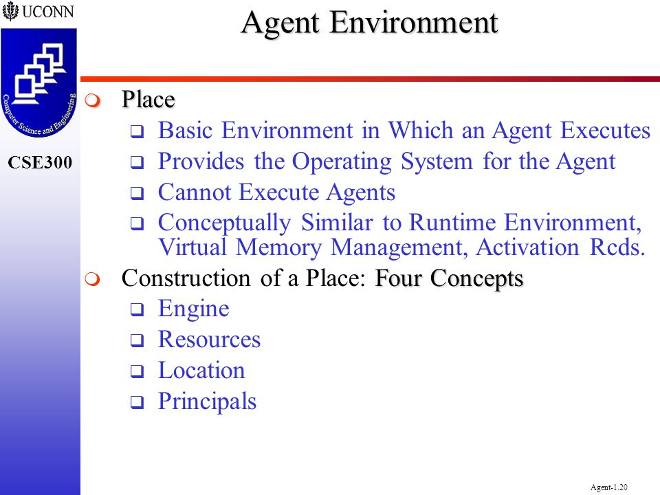 Agent Environment Place Basic Environment in Which an Agent Executes