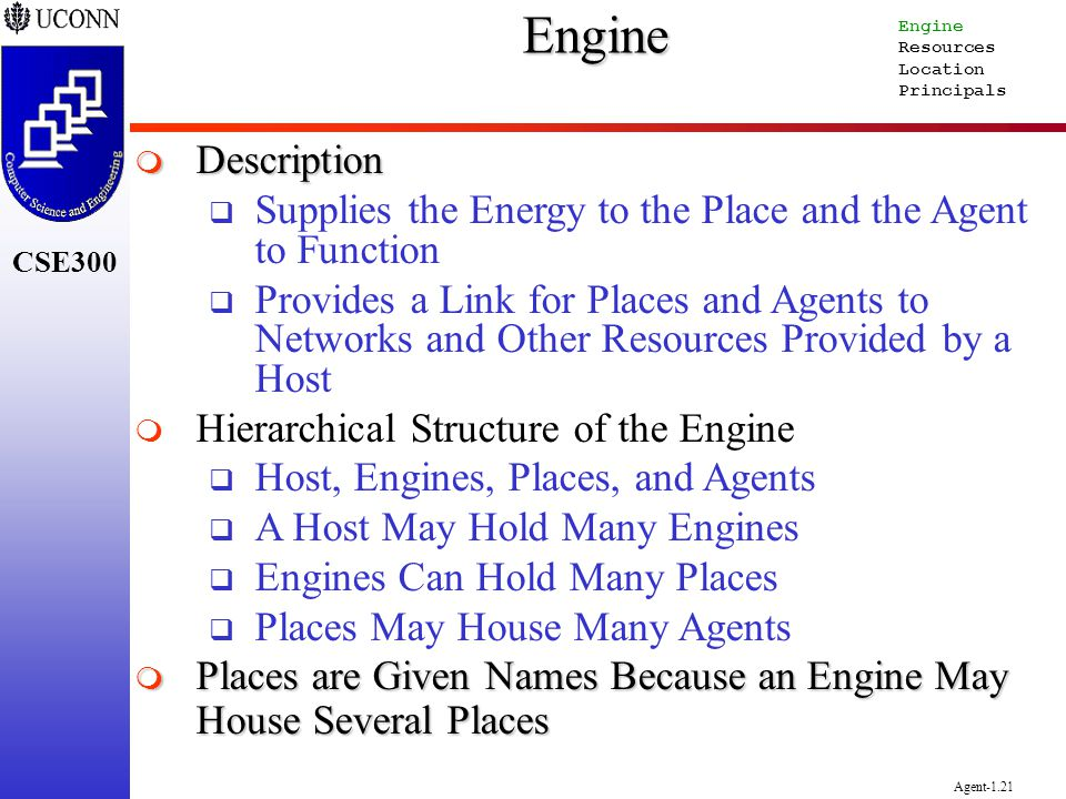 Engine Engine. Resources. Location. Principals. Description. Supplies the Energy to the Place and the Agent to Function.