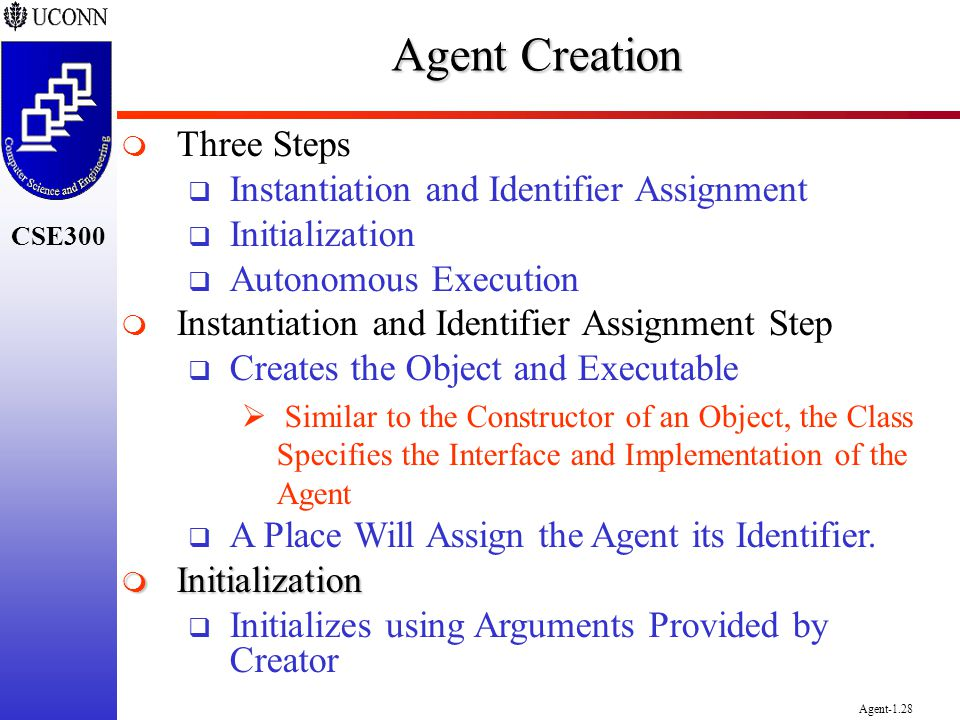 Agent Creation Three Steps Instantiation and Identifier Assignment
