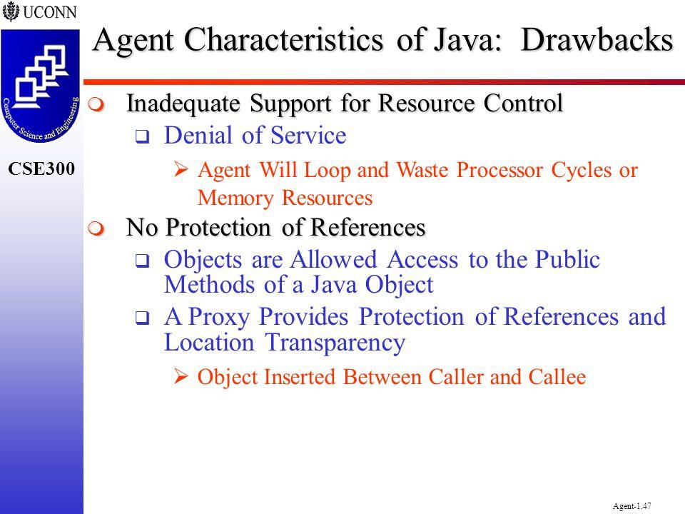 Agent Characteristics of Java: Drawbacks