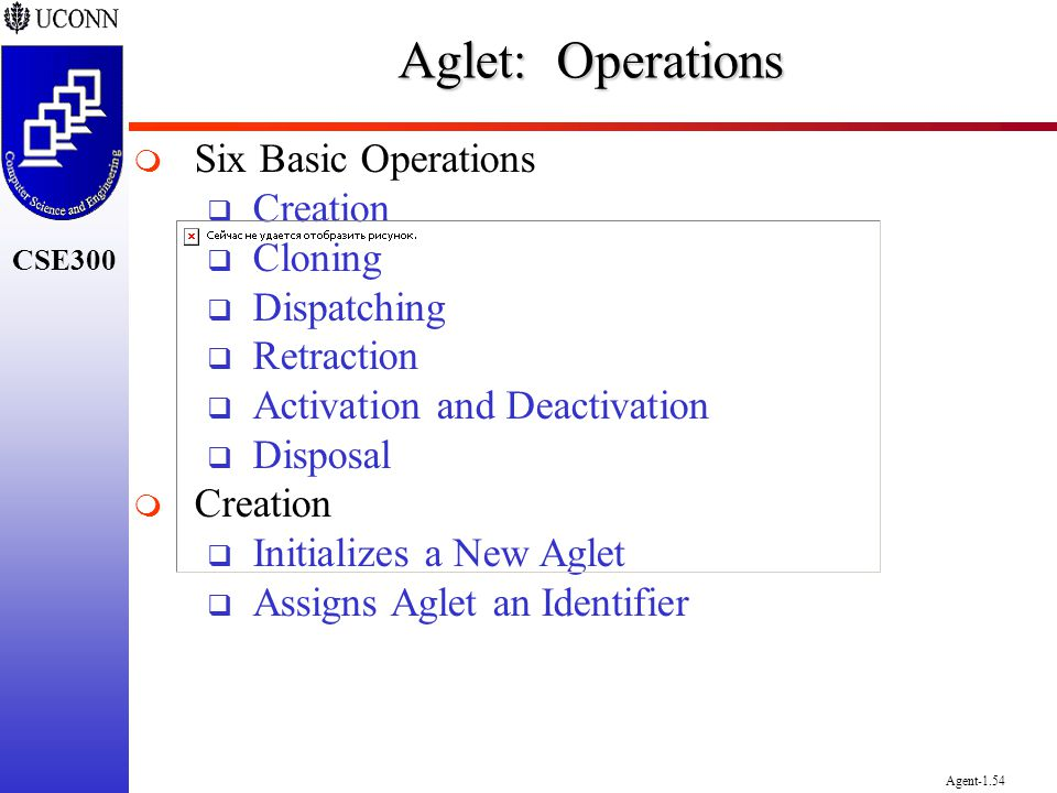 Aglet: Operations Six Basic Operations Creation Cloning Dispatching
