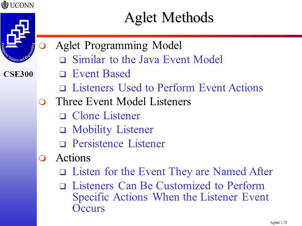 Aglet Methods Aglet Programming Model Similar to the Java Event Model