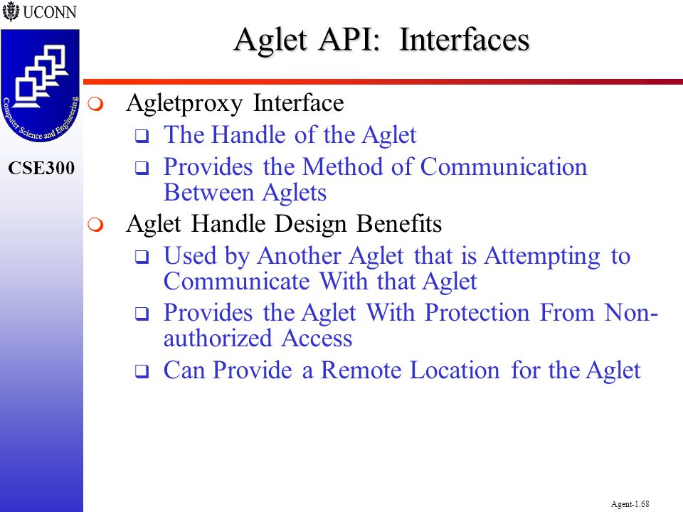 Aglet API: Interfaces Agletproxy Interface The Handle of the Aglet