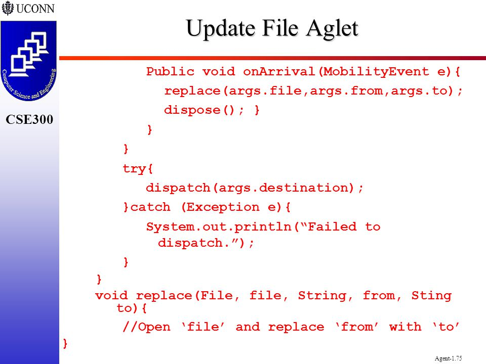 Update File Aglet Public void onArrival(MobilityEvent e){