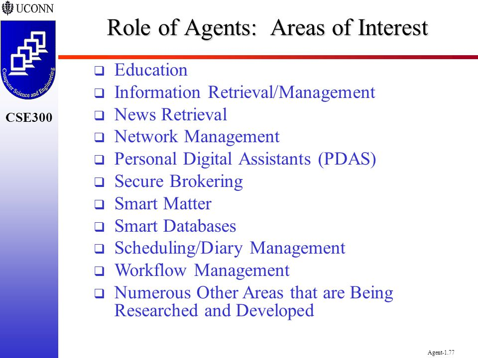 Role of Agents: Areas of Interest