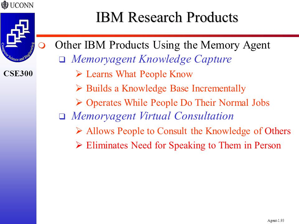 IBM Research Products Other IBM Products Using the Memory Agent
